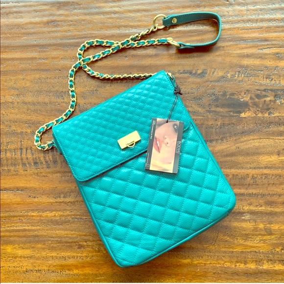 BODHI Handbags - BODHI iPad Purse NWT Emerald Color Gold Chain
